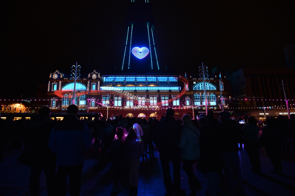 LightPool Digital Projection show onto Blackpool Tower