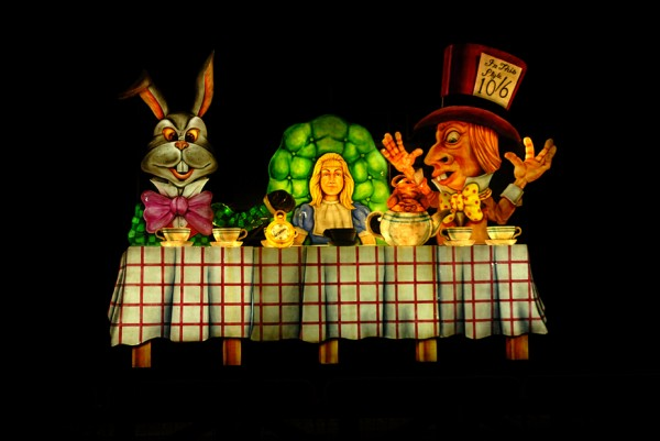 The old Alice in Wonderland tableau, damaged in storms, replaced by Alice's Garden Tableau
