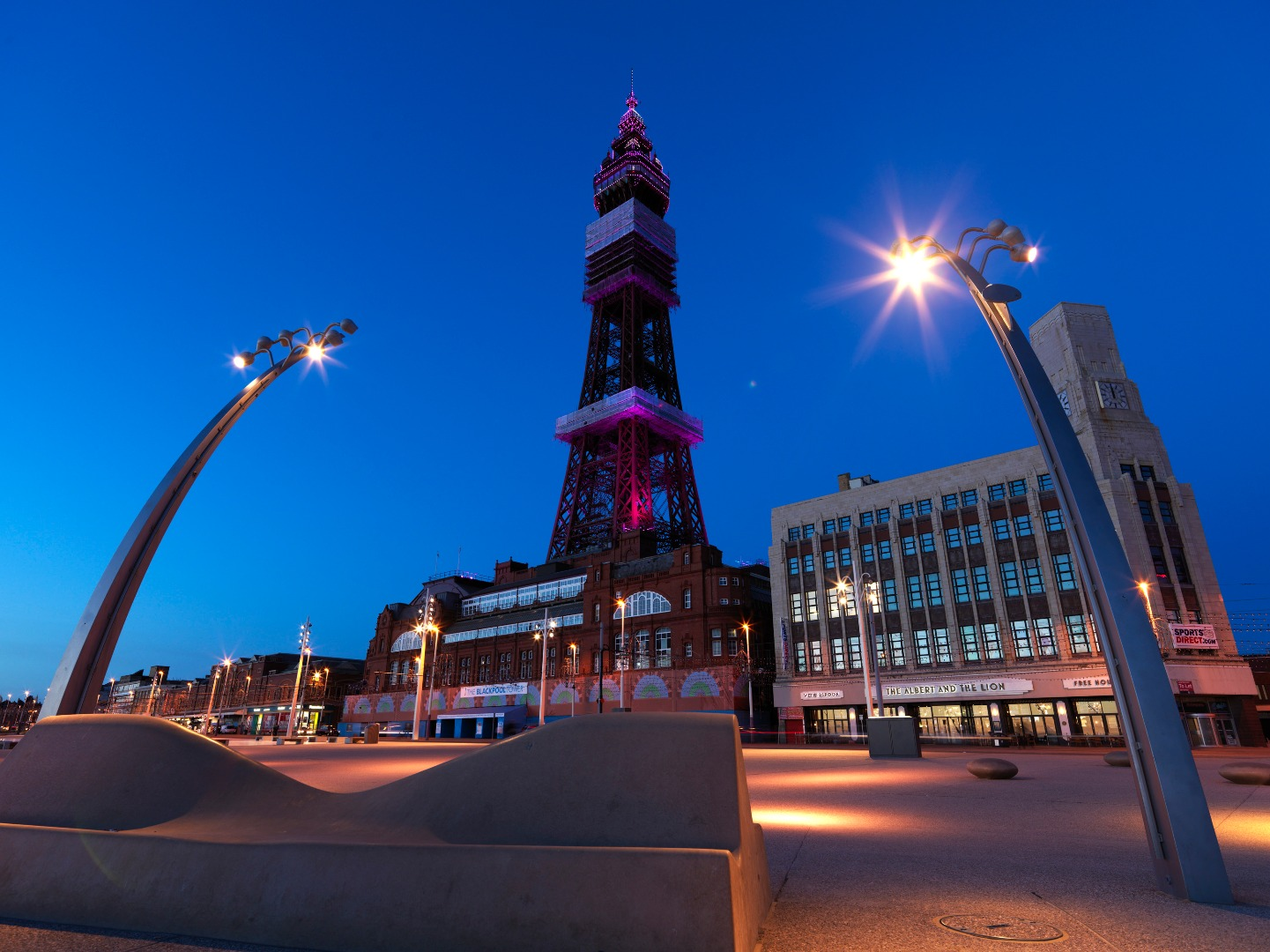Blackpool Tower building lit up at night when LightPool started