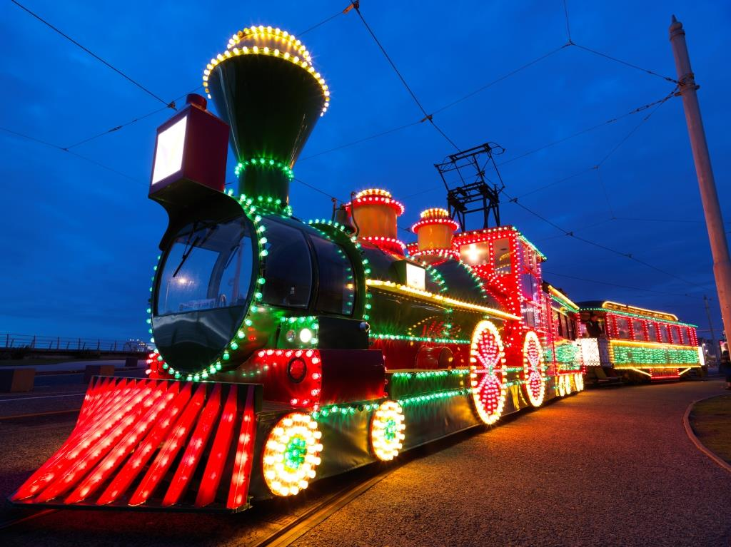 Great Western Illuminated train tram in Blackpool Illuminations parade