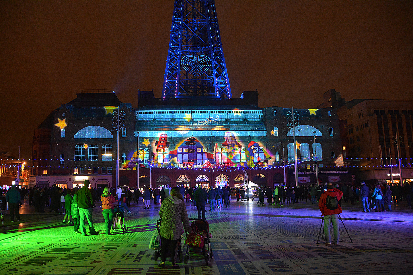 LightPool digital projection show on the front of Blackpool Tower during Illuminations