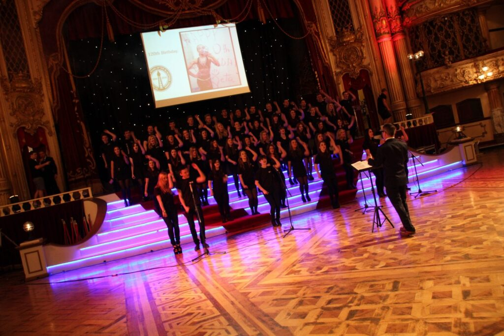 Blackpool and the Fylde College Choir, appearing at Blackpool Illuminations switch on 2017