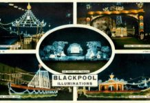 An old postcard of the Blackpool Illuminations - Tuck Postcards