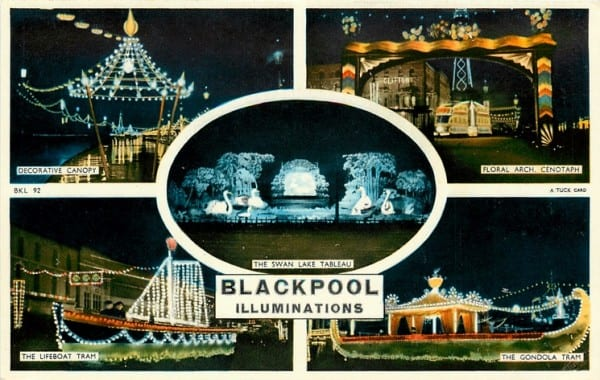 An old postcard of the Blackpool Illuminations - Tuck Postcards. Find out about Blackpool Illuminations