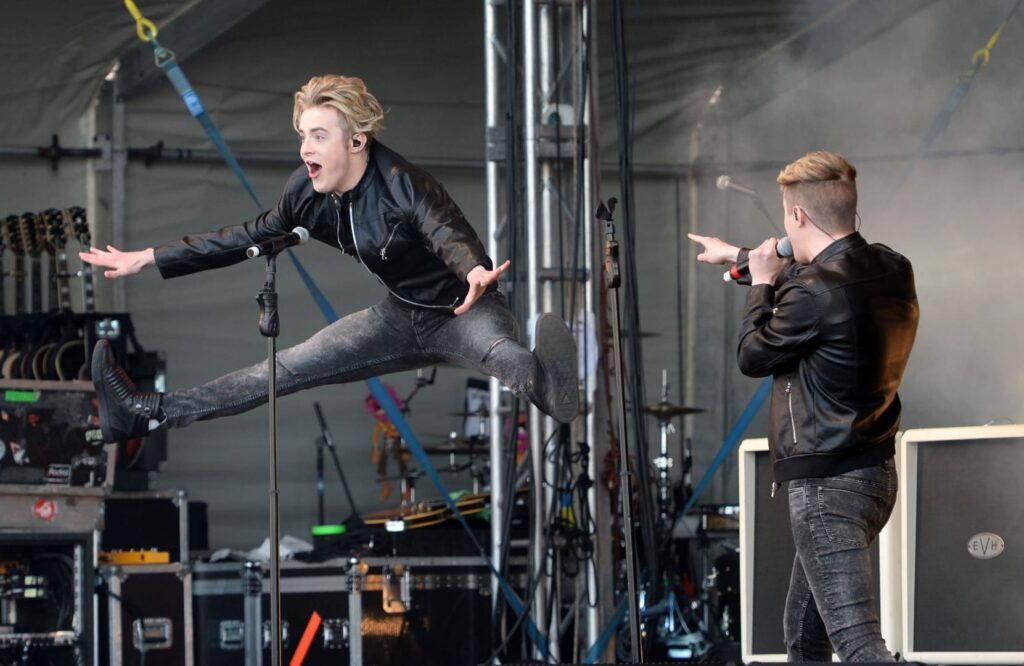 Jedward performing at The Blackpool illuminations Switch on in 2015