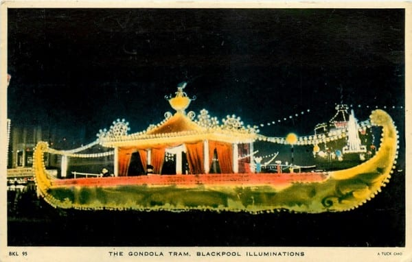 Gondola Tram, Tuck Postcards, old illuminated heritage trams