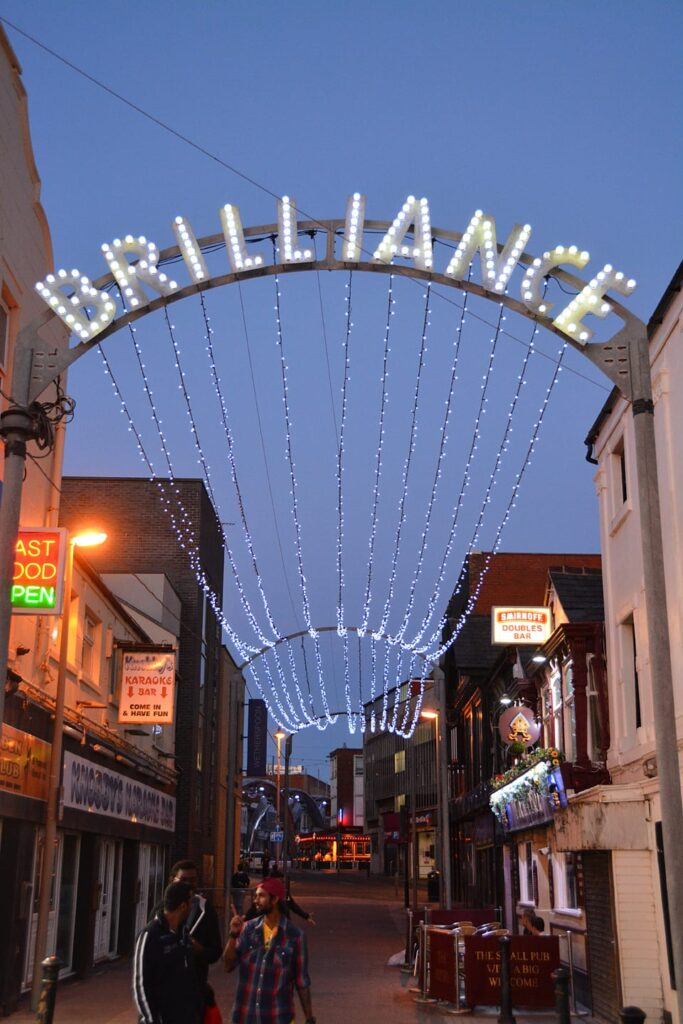 Brilliance arch leading to Birley Street, find out about Blackpool Illuminations