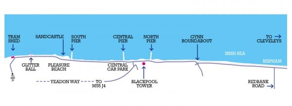 Map of the Illuminations route Find out about the Blackpool Illuminations and and what's where