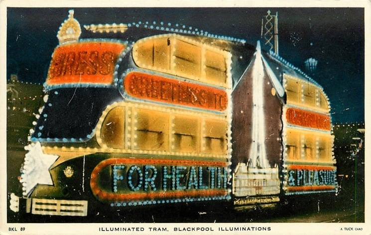 Progress, one of the old illuminated heritage trams, Tuck Postcards