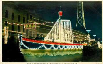 The Lifeboat old illuminated heritage tram, Tuck Postcards