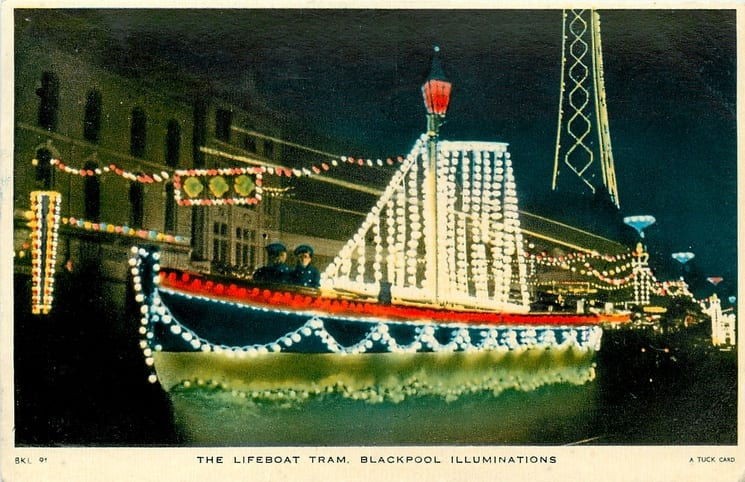 The Lifeboat, one of the old illuminated heritage trams, Tuck Postcards