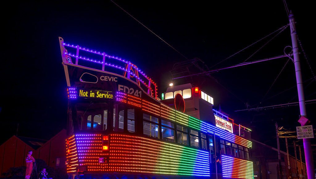 Not one of the old Illuminated Heritage Trams, the newly restored Fisherman's Friend Trawler