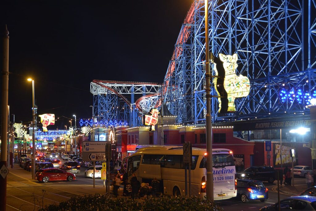 Promenade at Pleasure Beach, find out about Blackpool Illuminations