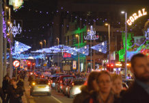 Central promenade during Blackpool Illuminations