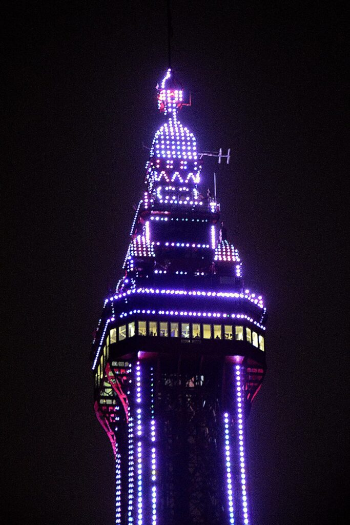 Blackpool Tower Lit up, find out about Blackpool Illuminations