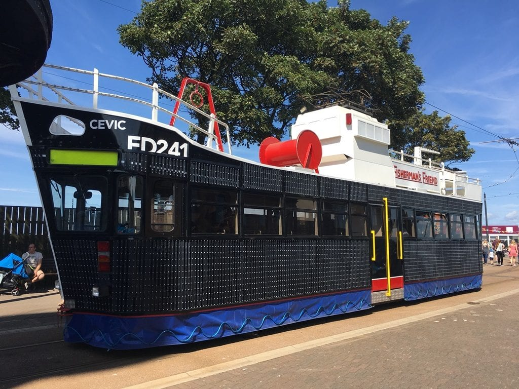 The Fisherman's Friend Trawler Tram, one of the current Illuminated Heritage Trams