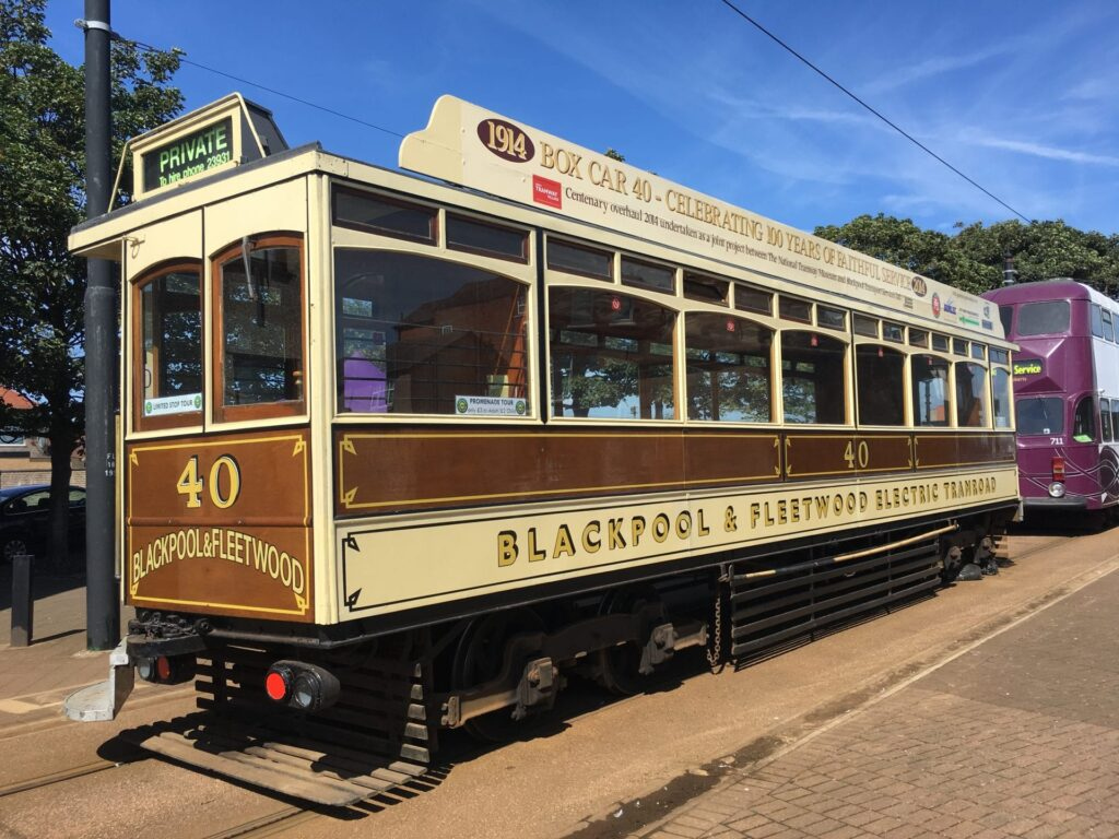 Heritage Tram being exhibited at Fleetwood Tram Sunday, run alongside Illuminated Heritage Trams