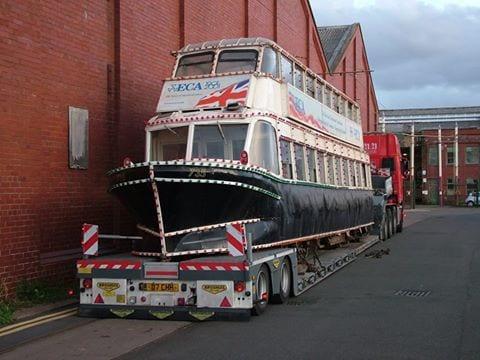 Hovertram arrives back in Blackpool, September 2016