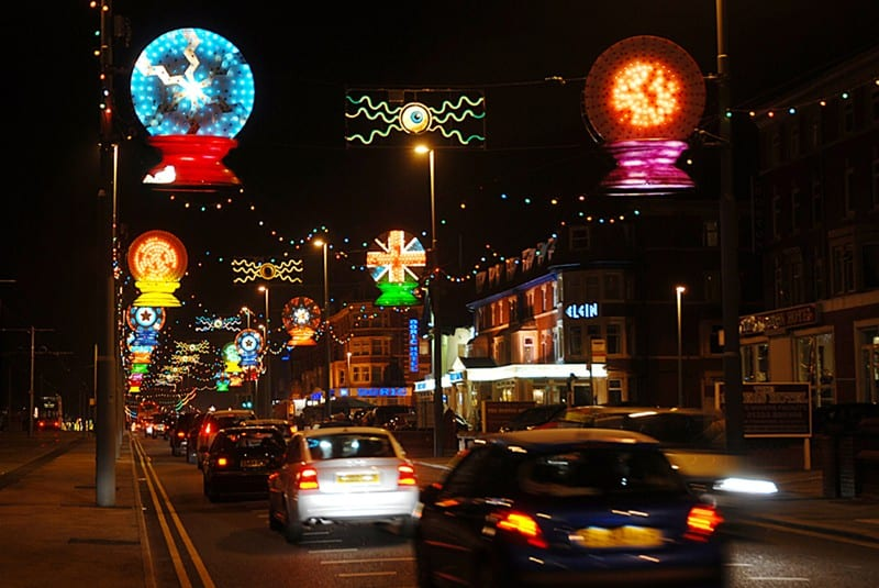 Guide to daily switch on times for overhead Illuminations on Blackpool promenade