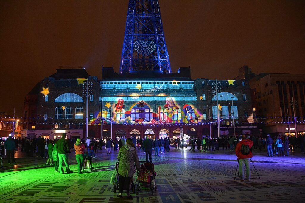 LightPool Digital Projection Show onto the Blackpool Tower, beamed from LightPool Village