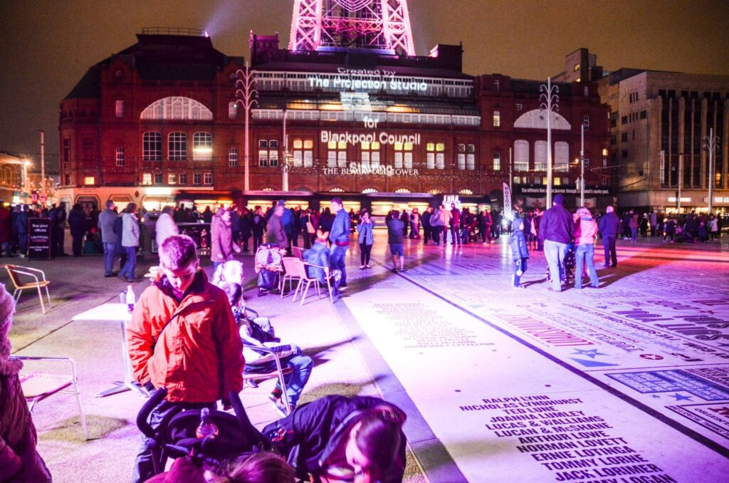 LightPool Village on the Comedy Carpet at Blackpool Tower Festival Headland