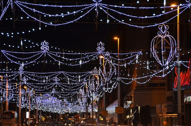 Festoon lights over the road at Blackpool Illuminations