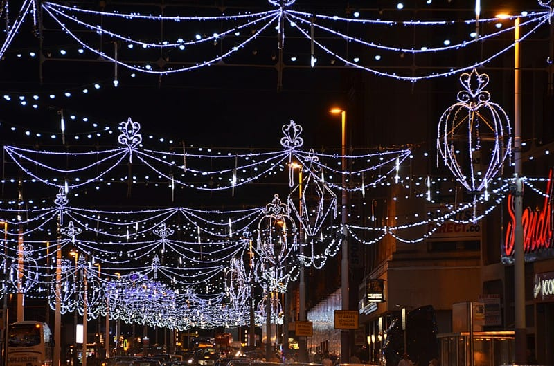 Festoon lights over the road, find out about Blackpool Illuminations