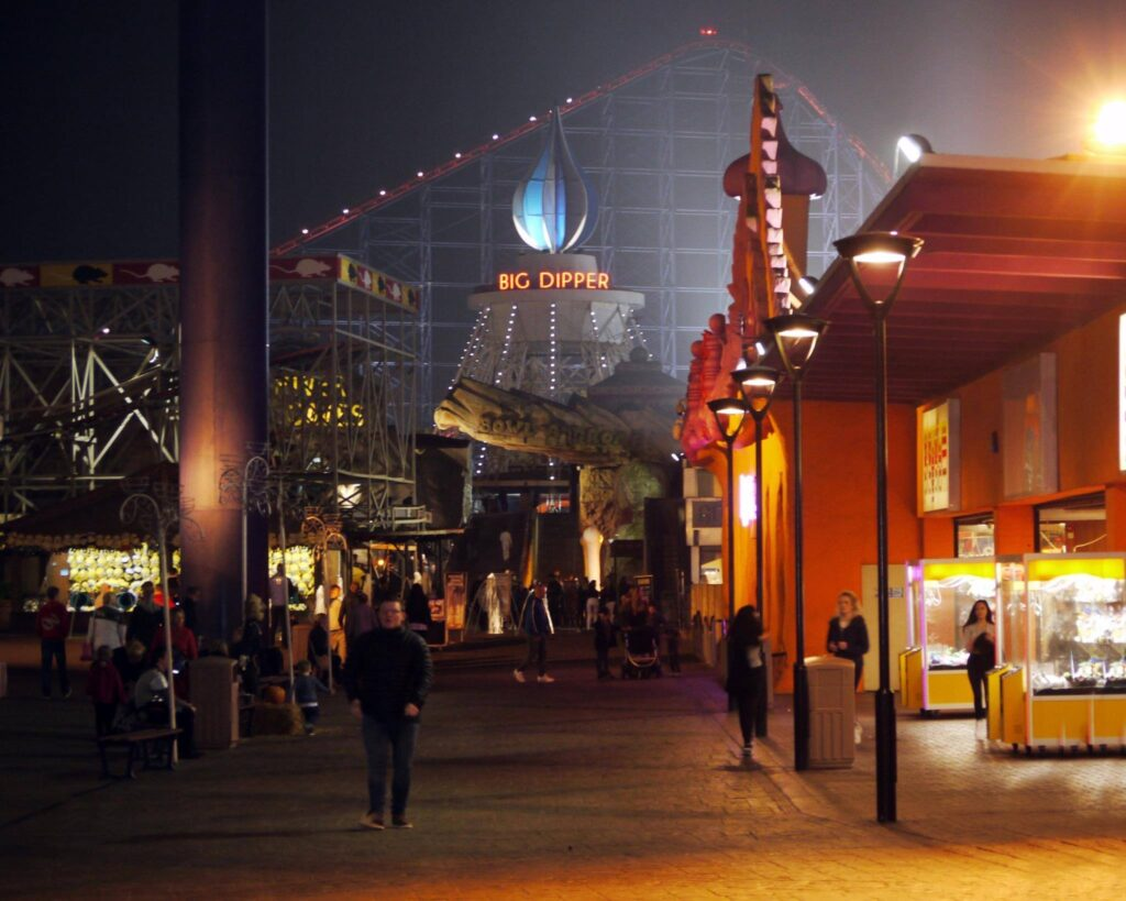Blackpool Pleasure Beach at night by Dawn Mander