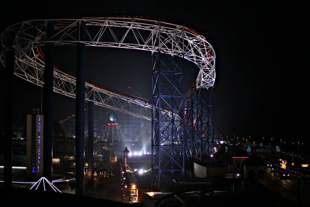 Pleasure Beach rides at night by Dawn Mander