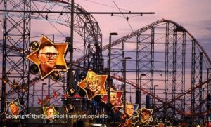 Old Blackpool illuminations featuring Stars of Coronation Street
