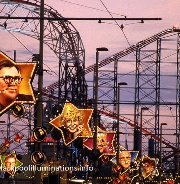 Old Blackpool Illuminations at the Pleasure Beach, part of the more recent history of Blackpool Illuminations