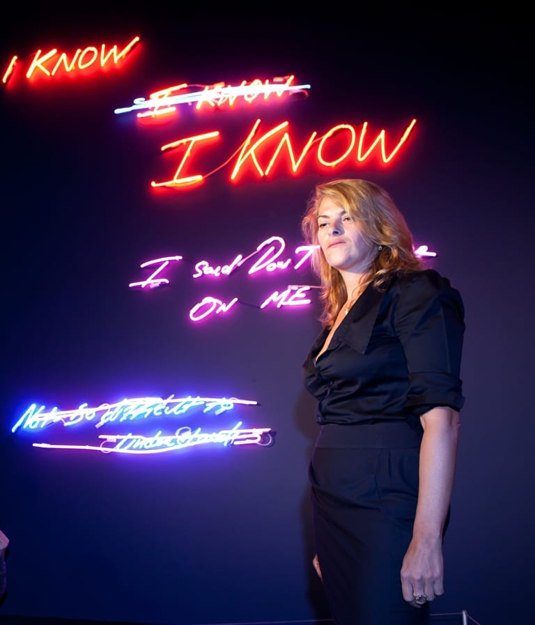 Tracey Emin at the launch of her neon exhibition, 'Love is What You Want', in 2011.
