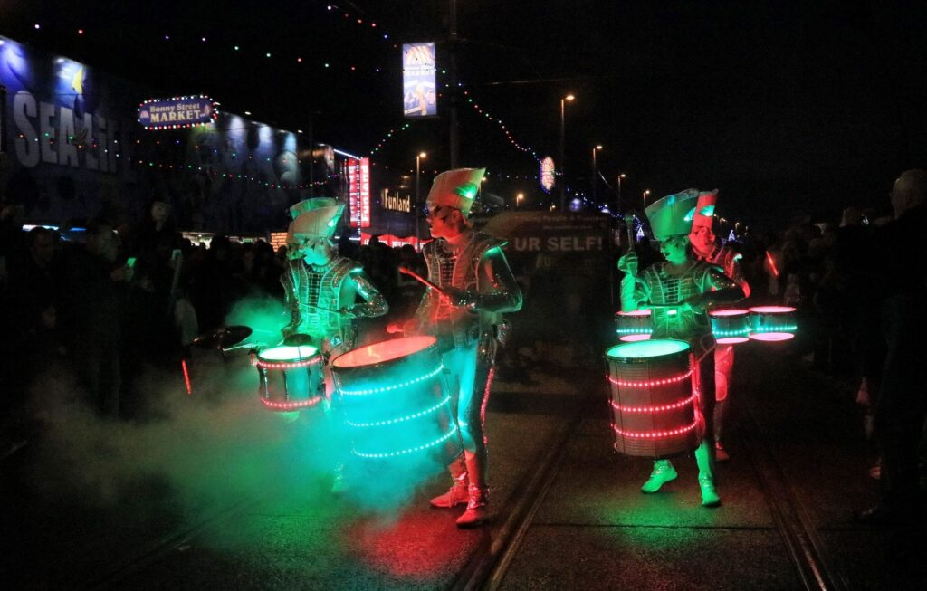 Spark! Drummers, Carnival of Lights at Lightpool Festival. Photo: Donna Eaves